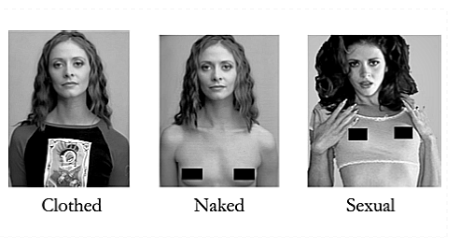 A photo of a woman clothed, a woman naked, and a woman naked with makeup, big hair, and sexual posture.